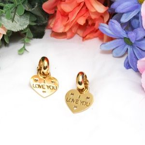 Cookie Lee Gold Tone I Love You Clip on Earrings